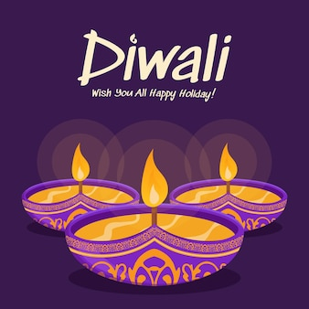 Gelukkig diwali ontwerp met diya olielamp elementen op paarse achtergrond, bokeh sprankelend effect, diwali viering wenskaart. vectorillustratie