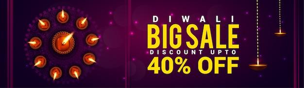 Gelukkig diwali-verkoopfestival van de banner van de lichtenwebsite
