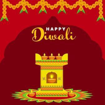Gelukkig diwali-vieringsconcept met tulsi-planter of aanbiddingsboog versierd met verlichte olielampen (diya) op rangoli rode achtergrond.