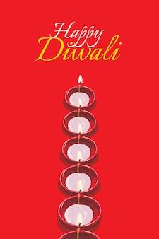 Gelukkig diwali-wenskaartkunstwerk met traditionele oliekleilamp of diya met vrolijke diwali-tekst