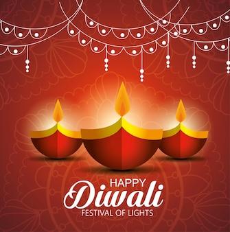 Gelukkig diwalifestival van lichten met kaarsen