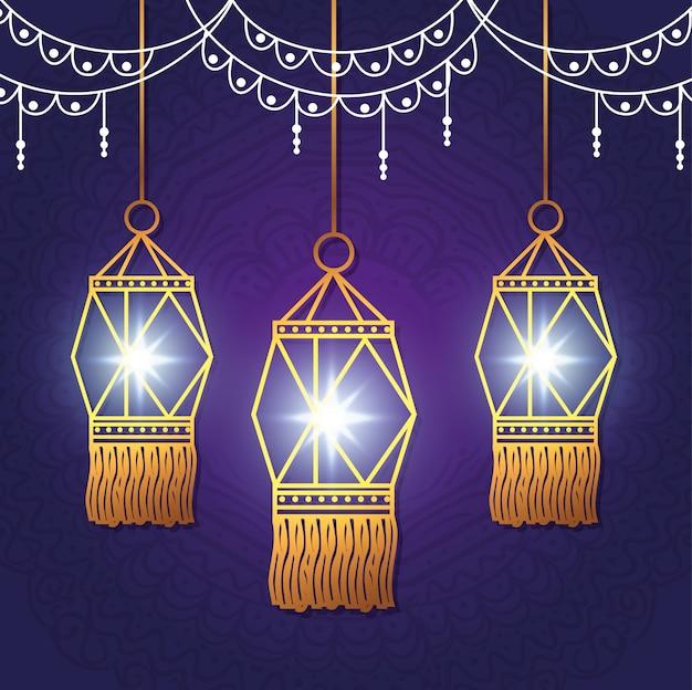 Gelukkig diwalifestival van lichten met lantaarns
