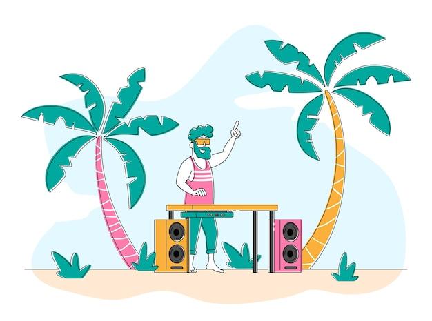 Gelukkig dj mannelijke personage in roze shirt en zonnebril op hoofd