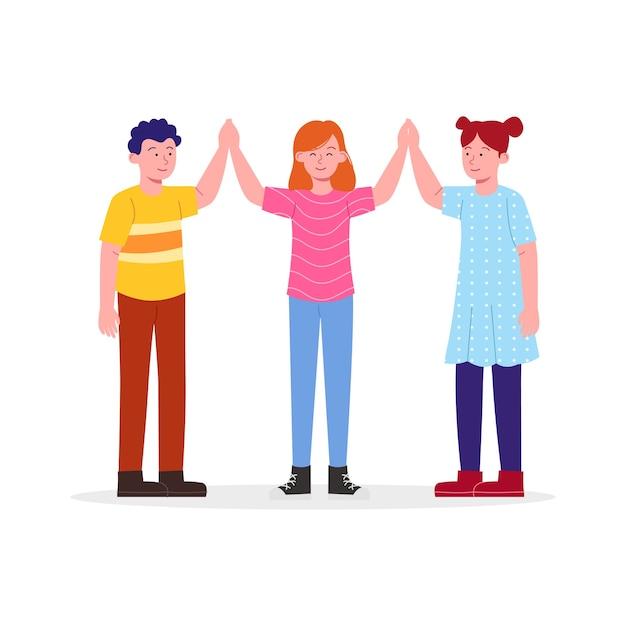Gelukkig drie kinderen juichen hoge vijf vriendschap symbolen