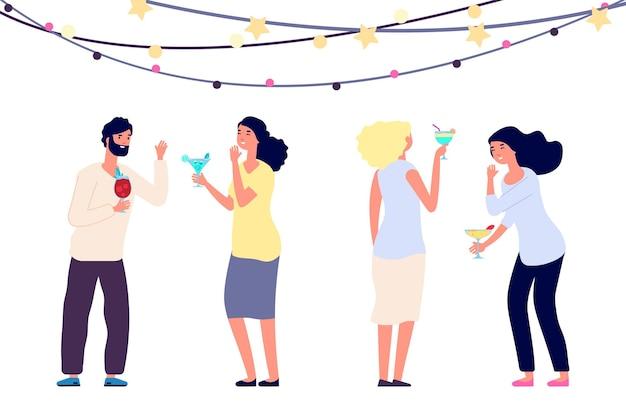 Gelukkig drinkende mensen. cocktail party, vrouwen en man lachen geïsoleerd op een witte achtergrond. mensen vieren vakantie vectorillustratie. mensen happy drink party, vrouw en man viering cocktail