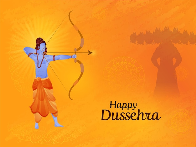 Gelukkig dussehra-concept met lord rama die een doel neemt tegen demon ravana op oranje mandala-patroonachtergrond.