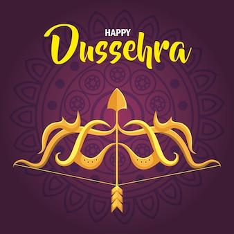 Gelukkig dussehra-festival en gouden pijl en boog op purpere achtergrond