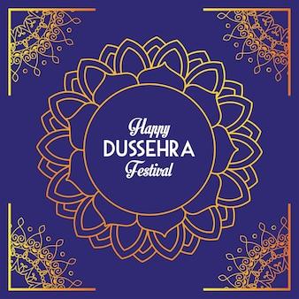 Gelukkig dussehra festival poster met belettering in mandala