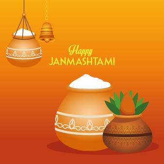 Gelukkig dussehra festival poster met keramische potten