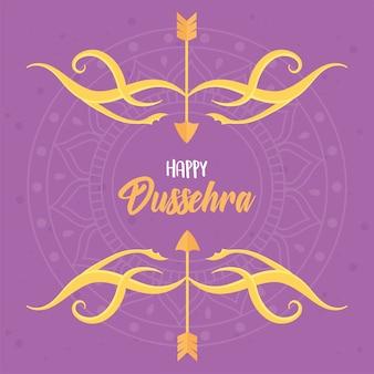 Gelukkig dussehra festival van india, belettering pijlen boog mandala decoratie illustratie