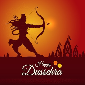 Gelukkig dussehra festival van india, happy durga puja subh navratri, vijayadashami, pijl en boog van lord rama, ram navmi
