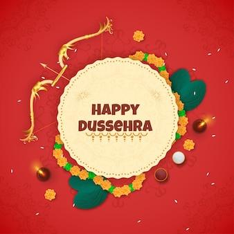 Gelukkig dussehra-lettertype over cirkelvormig frame versierd met bloemenslinger, gouden boogpijl, apta-bladeren en verlichte olielamp (diya) op rode mandala-achtergrond.