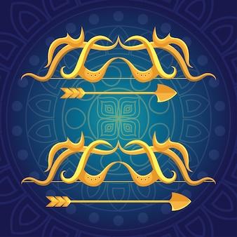 Gelukkig dussehrafestival met gouden pijlen op blauwe achtergrond