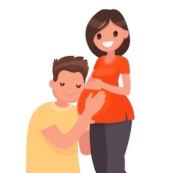 Gelukkig echtpaar dat op een kind wacht. een man omhelst de buik van een zwangere vrouw. man en vrouw. zwangerschap. in vlakke stijl