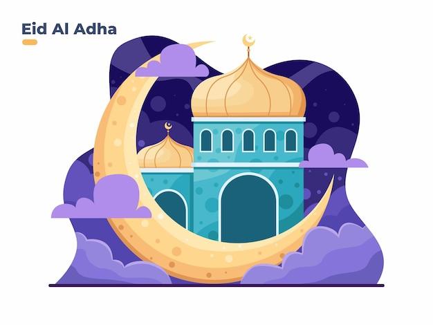 Gelukkig eid al adha en islamitisch nieuwjaar muharram met maan en moskee vlakke afbeelding