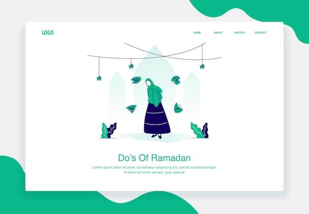 Gelukkig eid al fitr illustratie concept van een vrouw die dingen vertelt om te doen tijdens het platte ontwerp van de ramadan