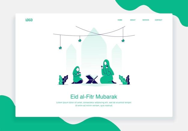 Gelukkig eid al fitr illustratie concept van moeder en kind bidden na het lezen van het platte ontwerp van de koran
