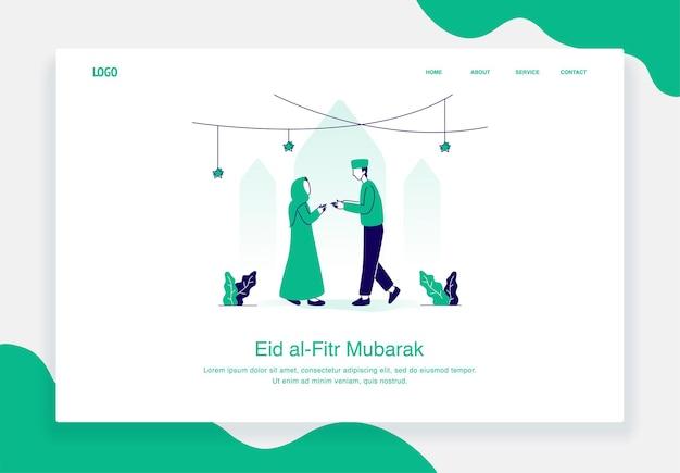 Gelukkig eid al fitr illustratie concept van moslimman en -vrouw begroeten elkaar plat ontwerp