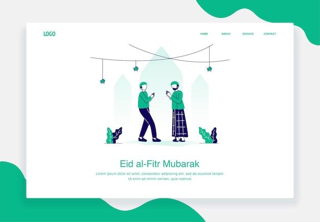 Gelukkig eid al fitr illustratie concept van twee moslimmannen begroeten elkaar plat ontwerp