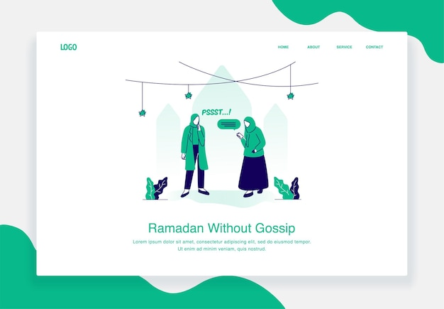 Gelukkig eid al fitr illustratie concept van vrouw vertelt andere vrouw om niet te roddelen tijdens ramadan plat ontwerp