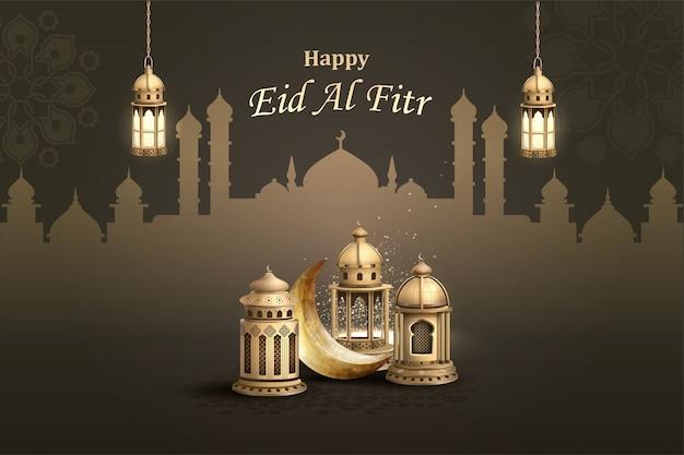 Gelukkig eid al fitr islamitisch wenskaartontwerp met lantaarns en halve maan