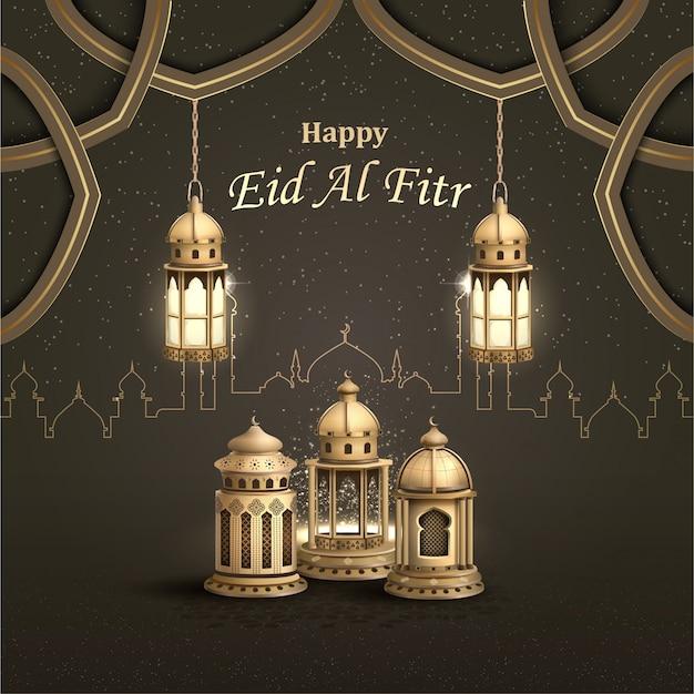 Gelukkig eid al fitr islamitisch wenskaartontwerp met prachtige gouden lantaarns