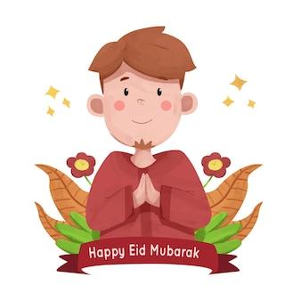 Gelukkig eid mubarak aquarel illustratie wenskaart