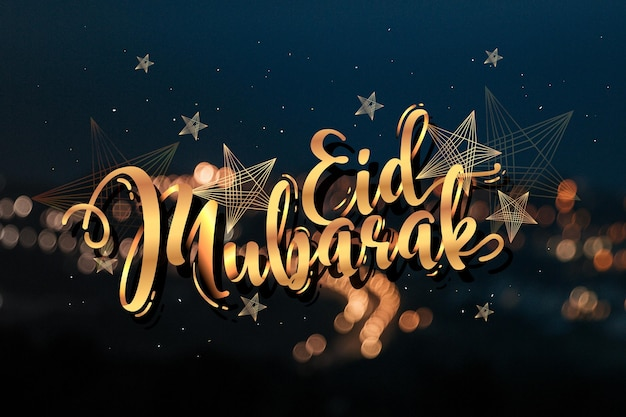 Gelukkig eid mubarak belettering en wazig stad