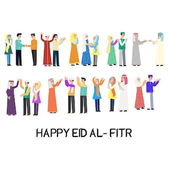 Gelukkig eid mubarak karakter vector ontwerp
