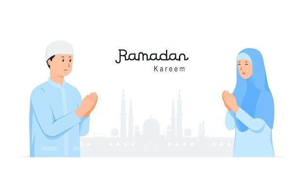 Gelukkig eid mubarak met mensen karakter verontschuldiging concept. ramadan kareem