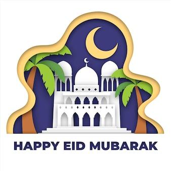 Gelukkig eid mubarak moskee en palmen in papierstijl