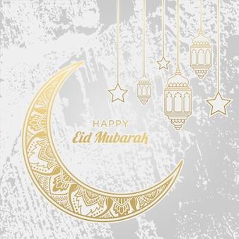 Gelukkig eid mubarak-ornament op witte achtergrond