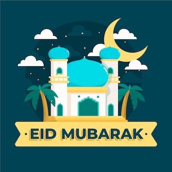 Gelukkig eid mubarak religieuze tempel