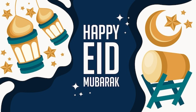 Gelukkig eid mubarak-wenskaart