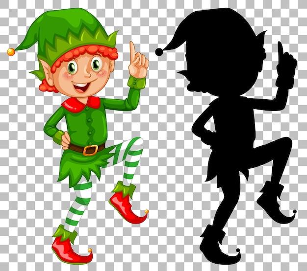 Gelukkig elf en zijn silhouet