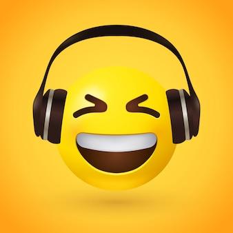Gelukkig emoji met koptelefoon