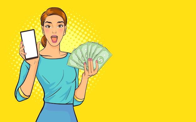 Gelukkig emotionele vrouw weergegeven: smartphone en geld. achtergrond pop art comic style