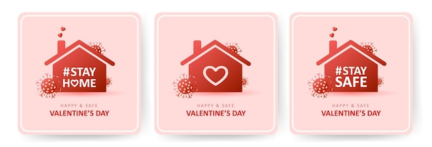 Gelukkig en veilig valentijnsdag. coronavirus en feestdagen.