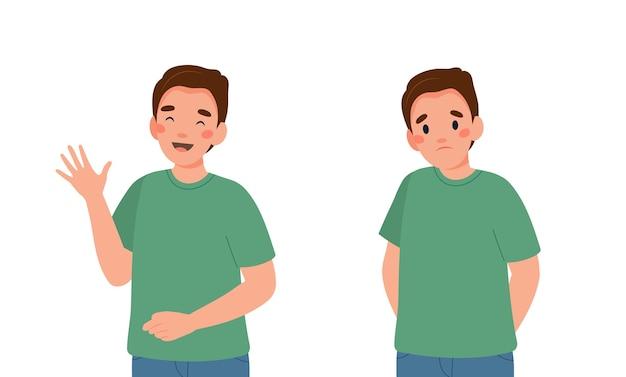 Gelukkig en verdrietig jonge man illustratie