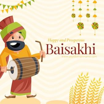 Gelukkig en welvarend baisakhi-wenskaartontwerp met punjabi-man die dhol speelt