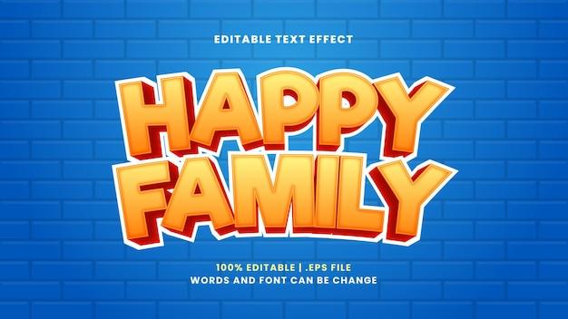 Gelukkig familie bewerkbaar teksteffect in moderne 3d-stijl