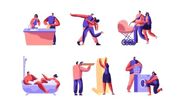 Gelukkig familiedag tekenset concept. leuke man en vrouw karakter maken huiswerk samen geïsoleerd op een witte achtergrond. mensen dansen, wandelen buiten. platte cartoon vectorillustratie