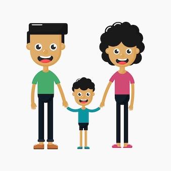 Gelukkig familiekarakter op witte achtergrond