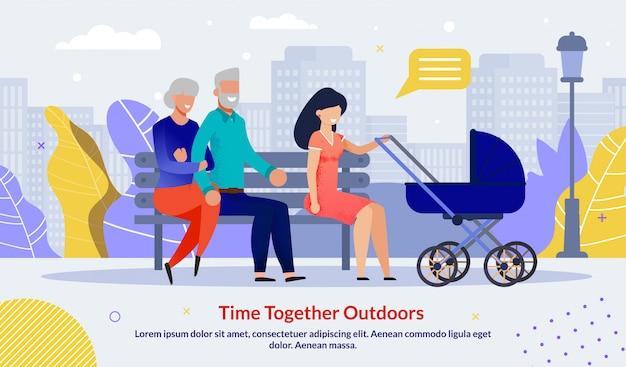Gelukkig familieleden vrije tijd samen buiten sjabloon