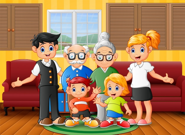 Gelukkig familielid thuis blijven