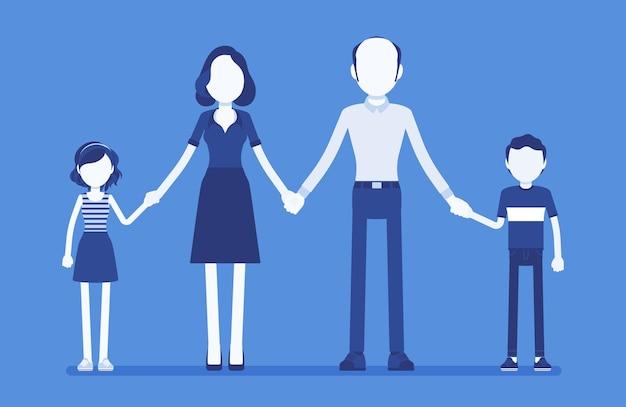 Gelukkig familieportret. groep van twee getrouwde leden, ouders, samenwonende kinderen, moeder, vader, zoon, dochter hand in hand, geniet van een goede relatie. vectorillustratie, gezichtsloze karakters