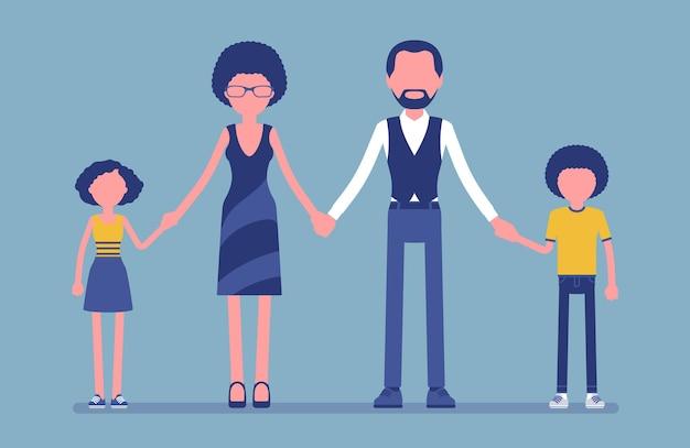 Gelukkig familieportret. groep van twee getrouwde ouders en kinderen die samenwonen in eenheid, moeder, vader, zoon, dochter hand in hand, geniet van een goede relatie. vectorillustratie, gezichtsloze karakters