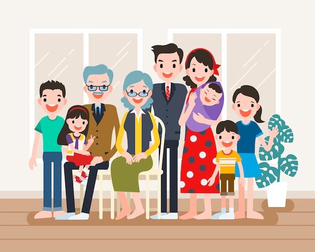 Gelukkig familieportret, grote familie komt samen