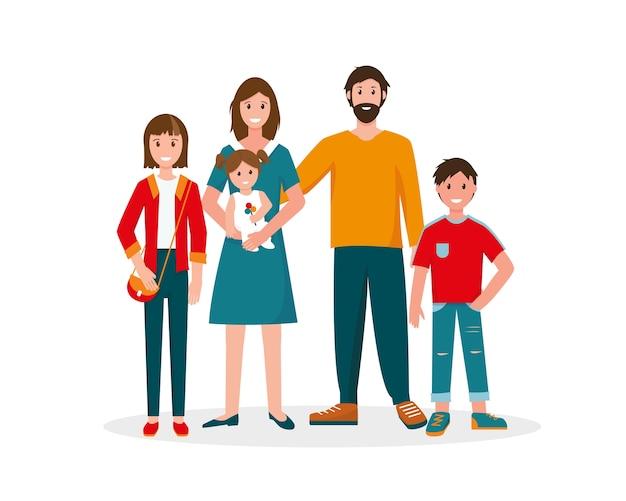 Gelukkig familieportret. vader, moeder en drie kinderen. illustratie op witte achtergrond.