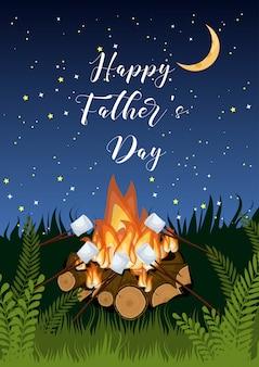 Gelukkig fathers day wenskaart met kampvuur, roosteren marshmallows, groen gras op sterrenhemel.